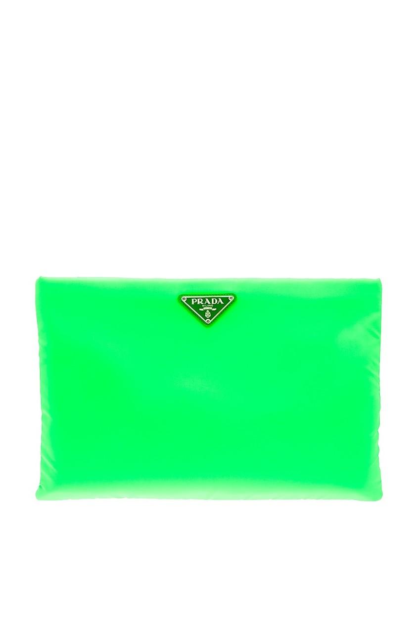 Prada Текстильный клатч зеленого цвета клатч galib клатч