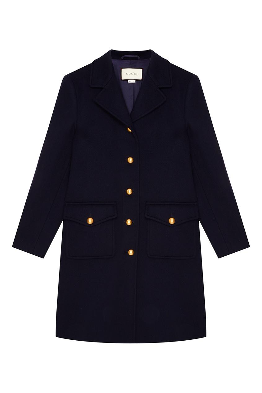 Gucci Синее пальто с золотистыми пуговицами gucci пальто