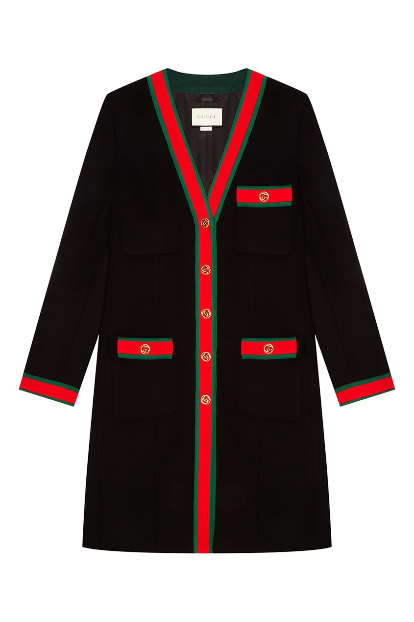 Gucci Черное пальто с контрастной отделкой gucci пальто