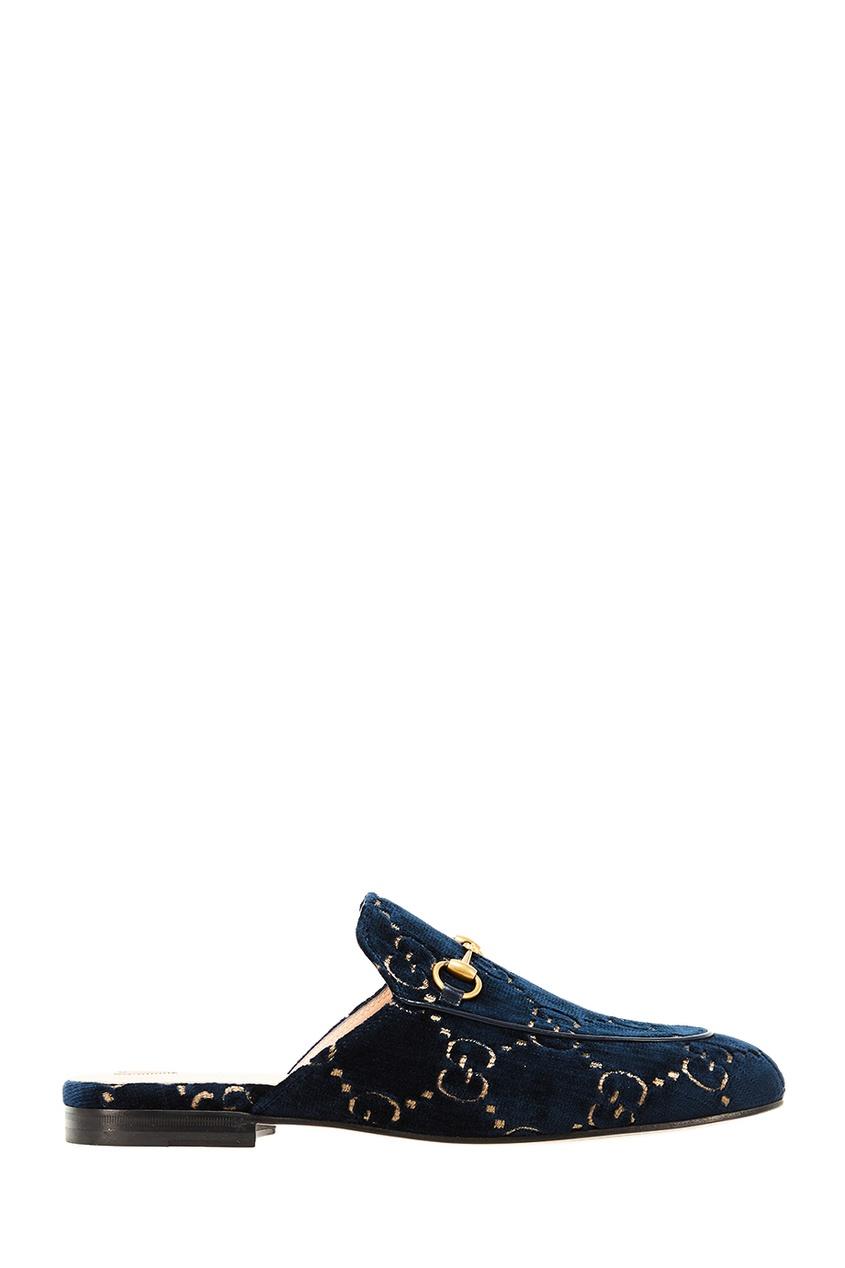 Gucci Темно-синие мюли с монограммой gucci повязка из сетки с монограммами
