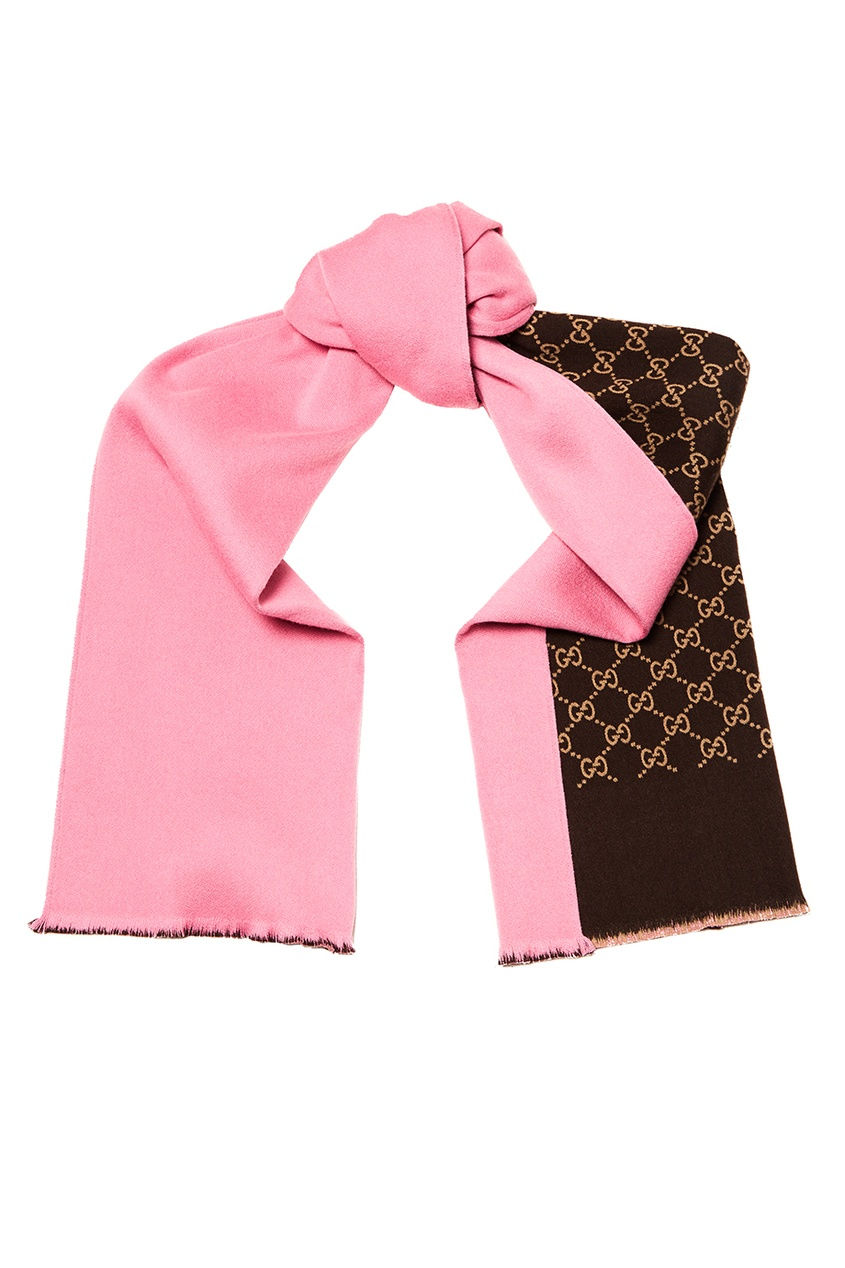 Gucci Двухсторонний шарф gucci повязка из сетки с монограммами