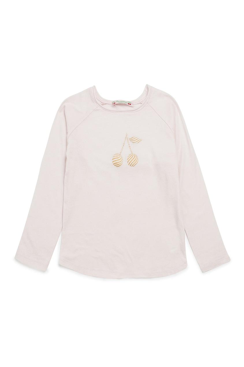 Bonpoint Лонгслив розовый с принтом вишнями bonpoint блуза с принтом gazelle
