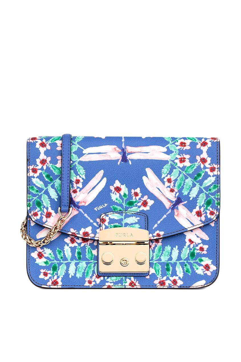FURLA Голубая сумка Metropolis с принтом furla сумка с павлинами metropolis