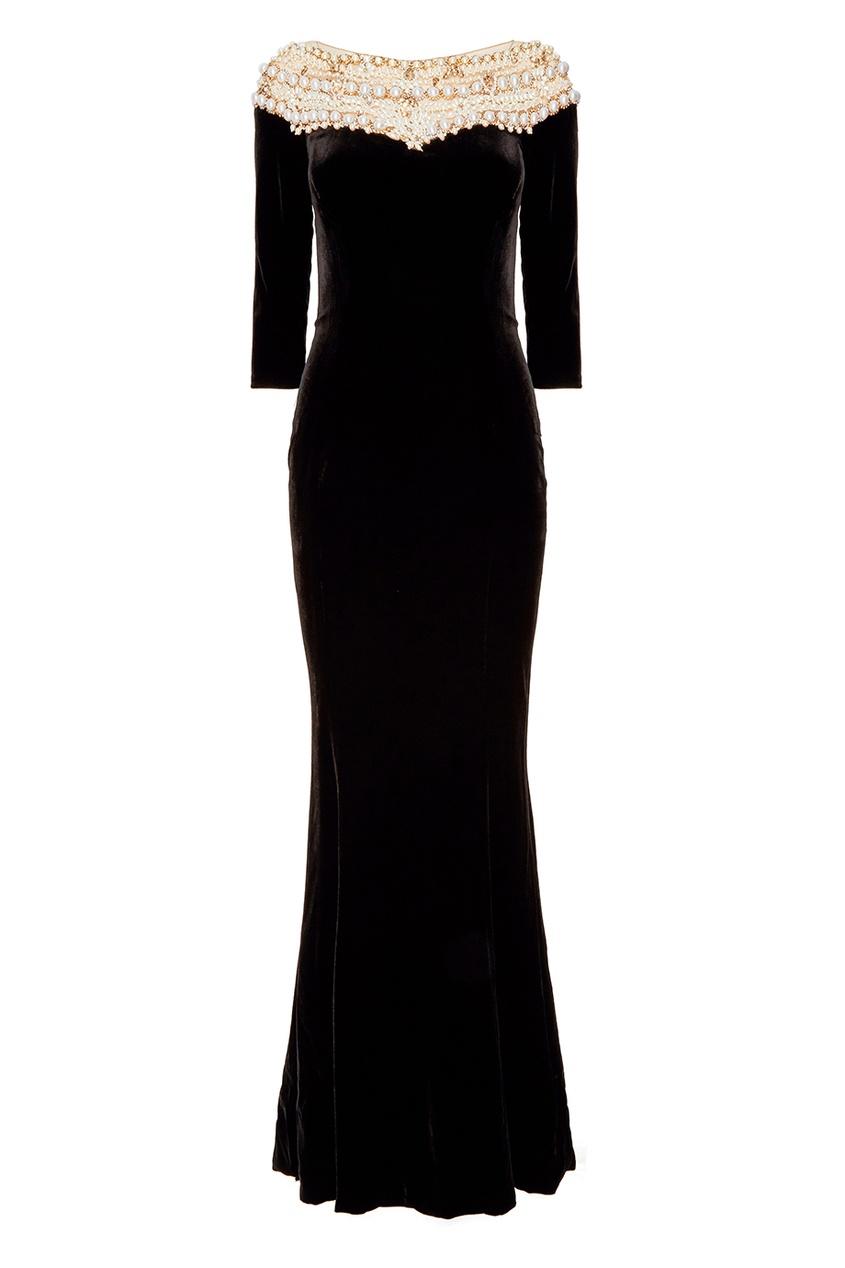 Черное платье с объемной отделкой Marchesa