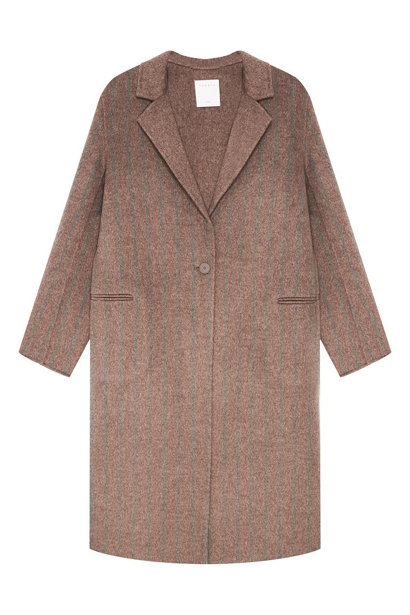 Sandro Бежевое пальто из овечьей шерсти
