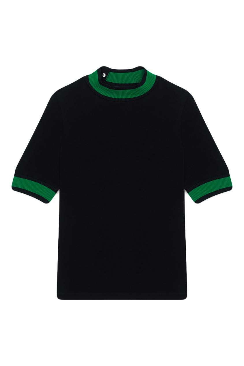 Купить со скидкой Черный джемпер с укороченными рукавами