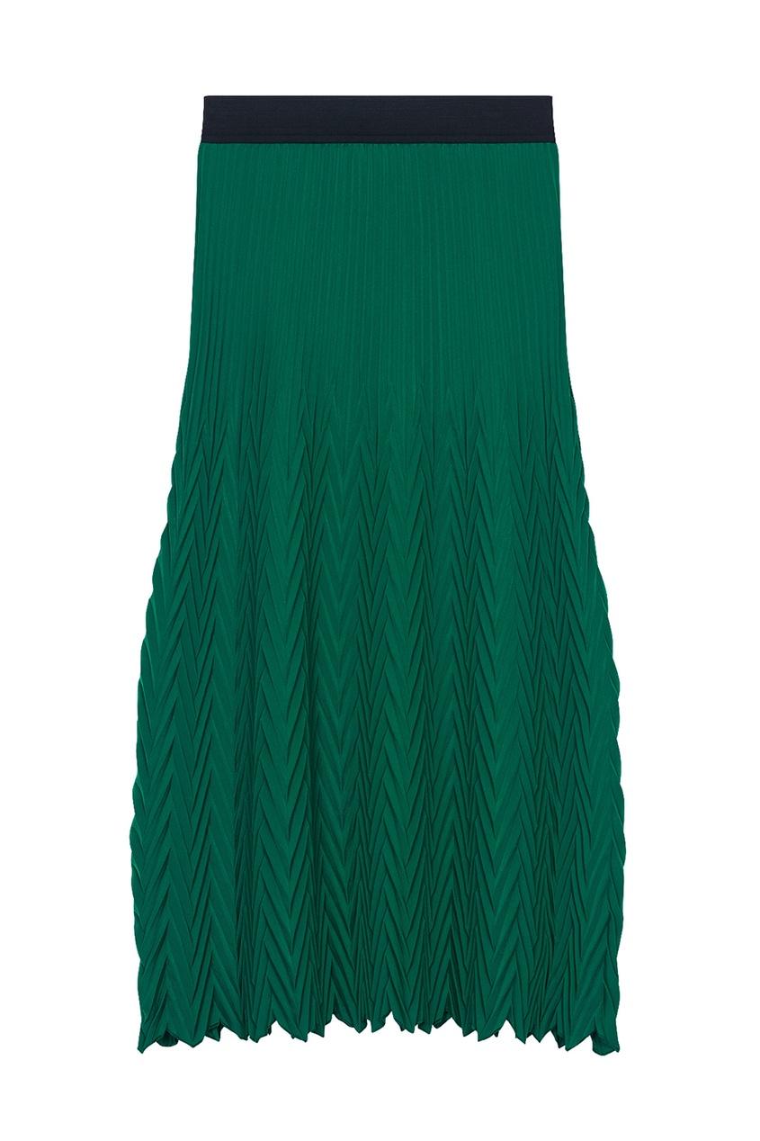 Зеленая плиссированная юбка Maje