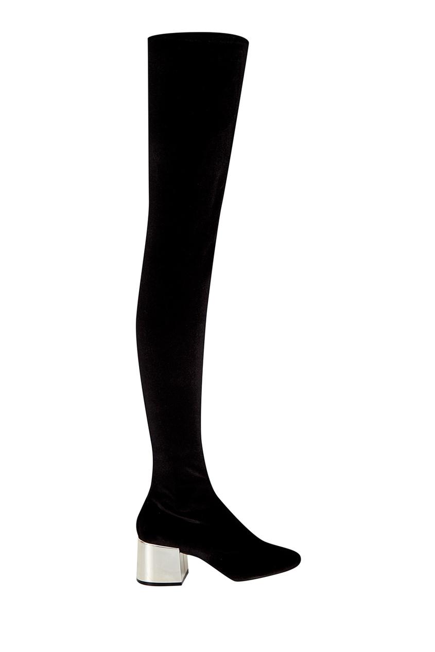 Купить со скидкой Черные сапоги с серебристым каблуком