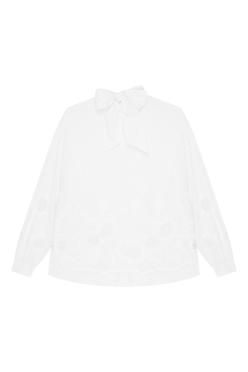 Купить со скидкой Белая блузка с вышивкой и завязками Revenge