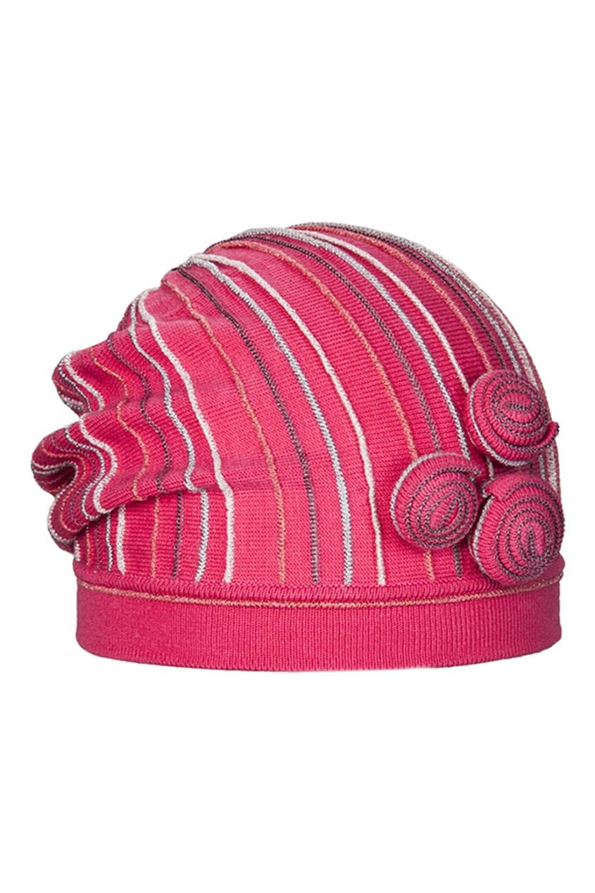 Розовая шапка с отделкой от Jacote
