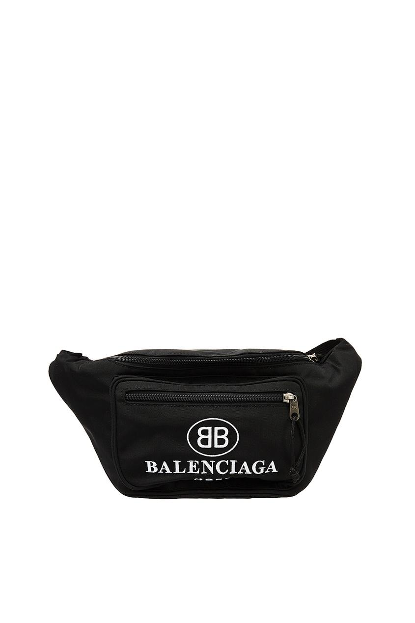 мужская поясные сумка balenciaga man, черная