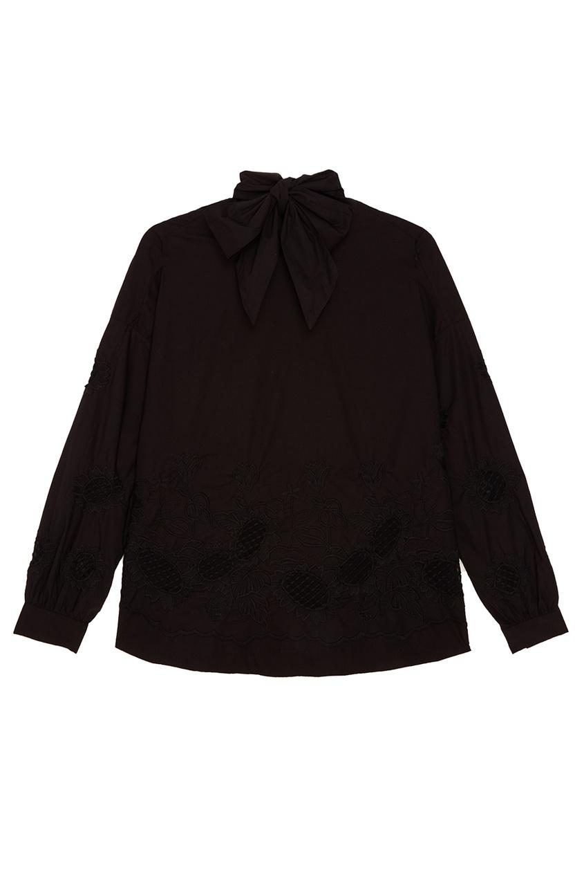 Essentiel Antwerp Черная блузка с вышивкой и завязками Revenge ostin блузка с вышивкой аист