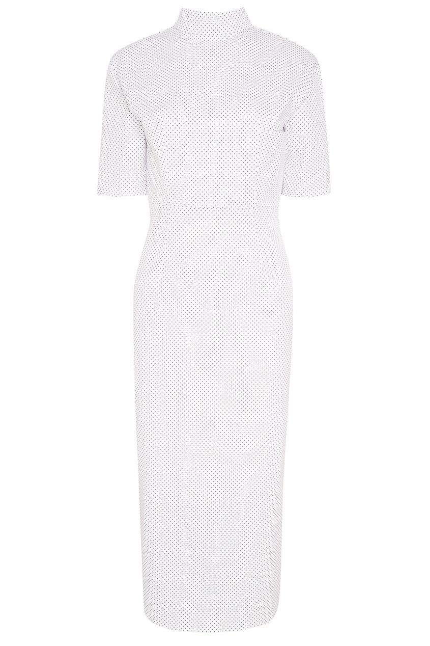 Купить со скидкой Белое платье в мелкий горошек