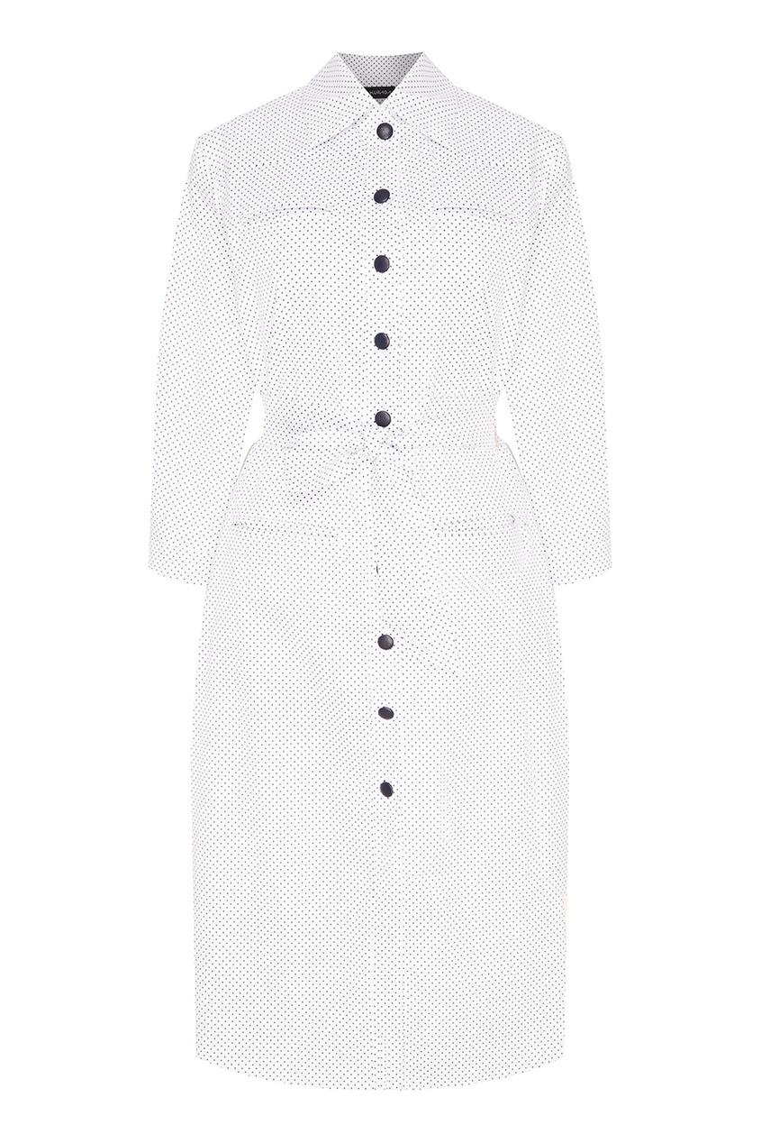 Kuraga Белое платье в горошек с поясом