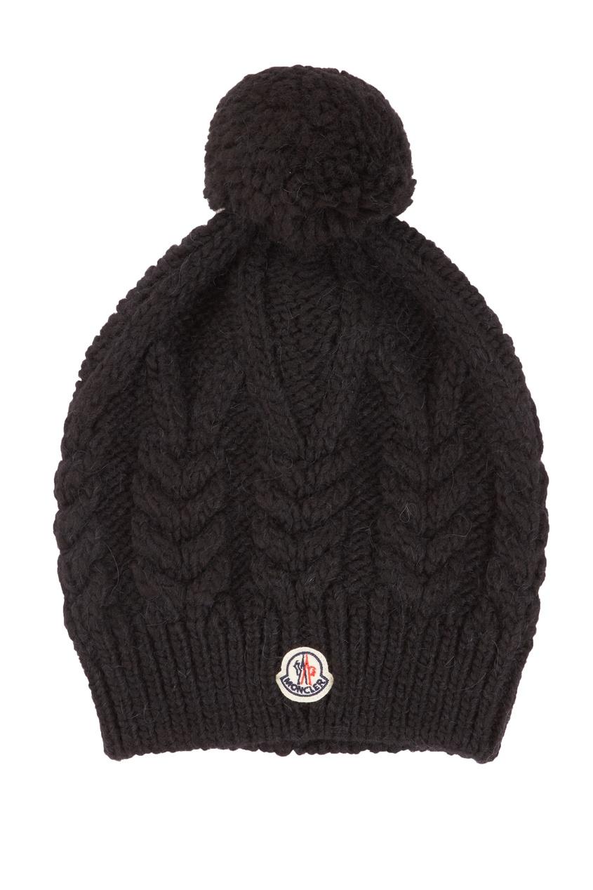 женская шапка moncler, черная