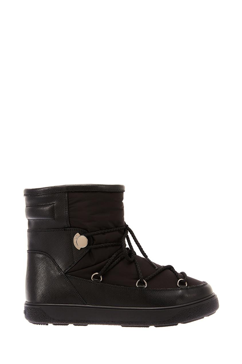Moncler Комбинированные черные ботинки moncler кожаные сандалии на плетеной подошве