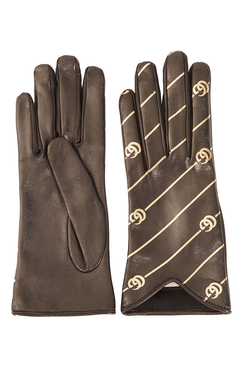Gucci Кожаные перчатки с монограммами gucci черный жакет с монограммами