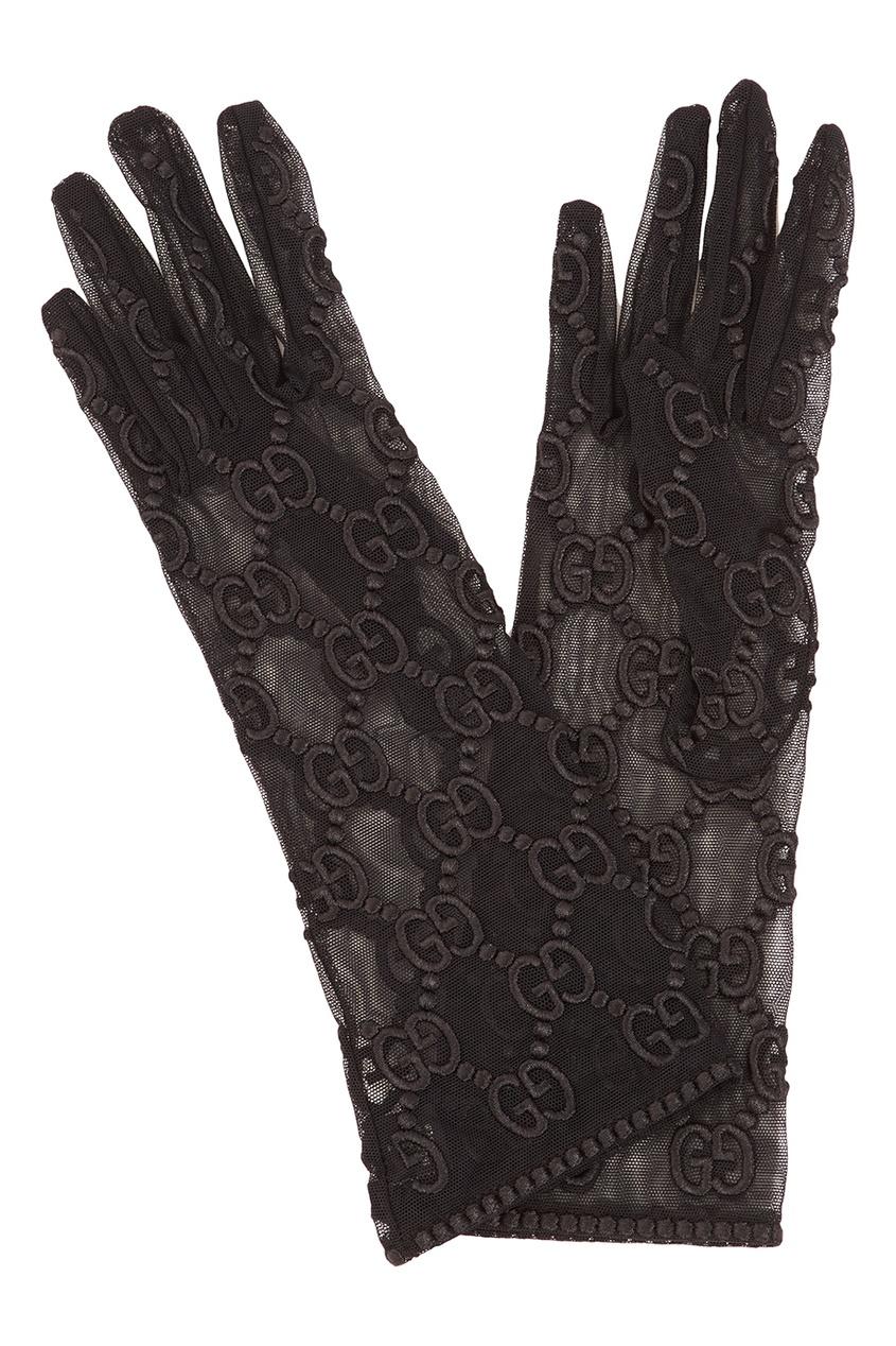 Gucci Шелковые перчатки с монограммами gucci черный жакет с монограммами