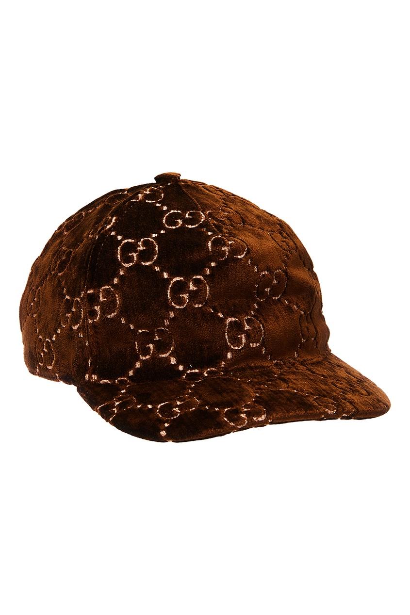 женская кепка gucci, коричневая