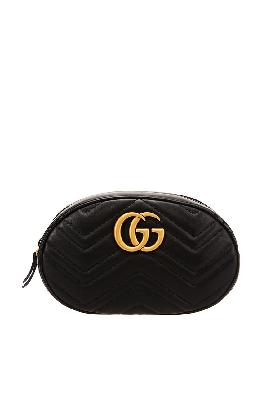 Gucci Черная сумка на пояс GG Marmont gucci кожаная сумка gg marmont