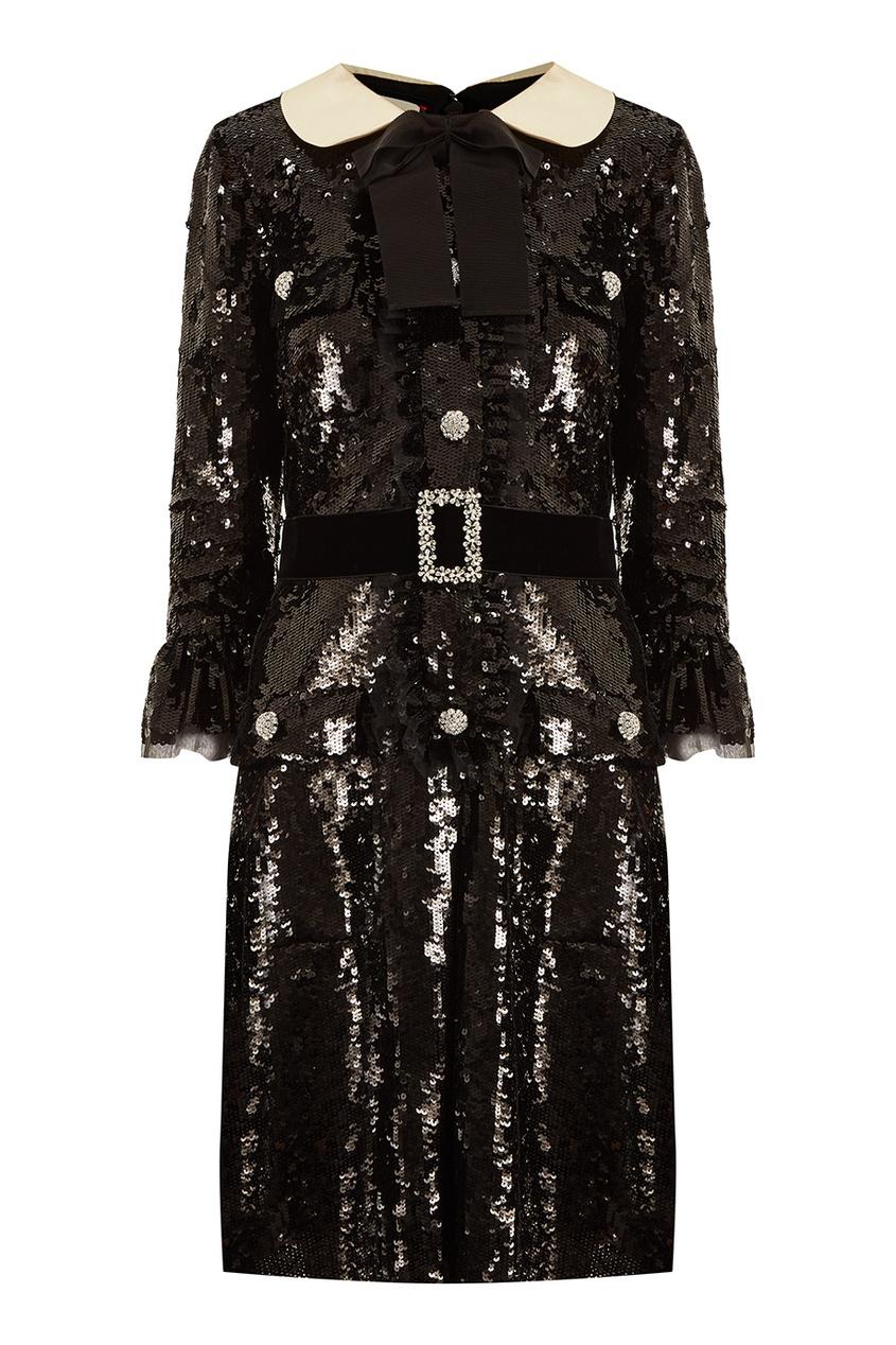 Gucci Черное платье с пайетками