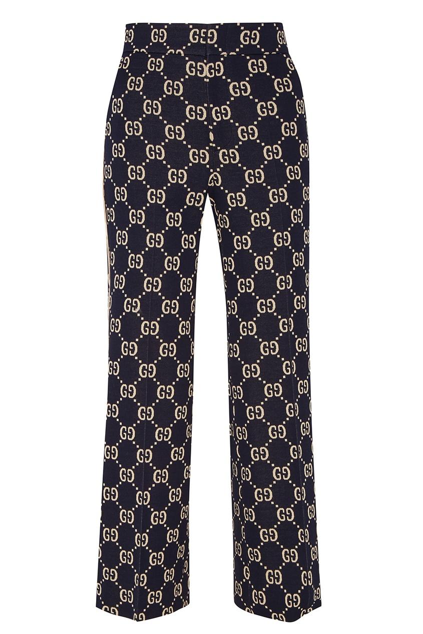 Gucci Синие брюки с монограммами gucci черный жакет с монограммами
