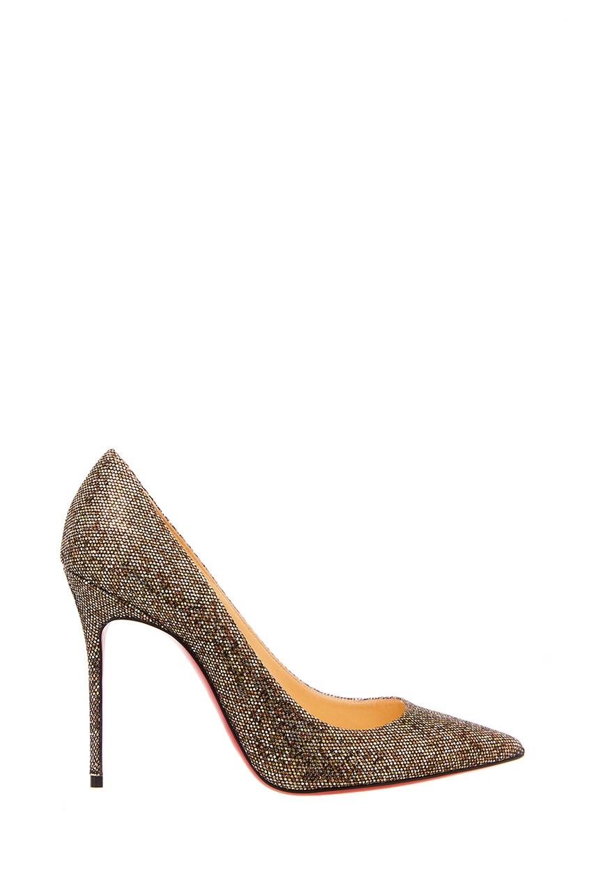 Серебристые туфли Decollete 554 100 Christian Louboutin