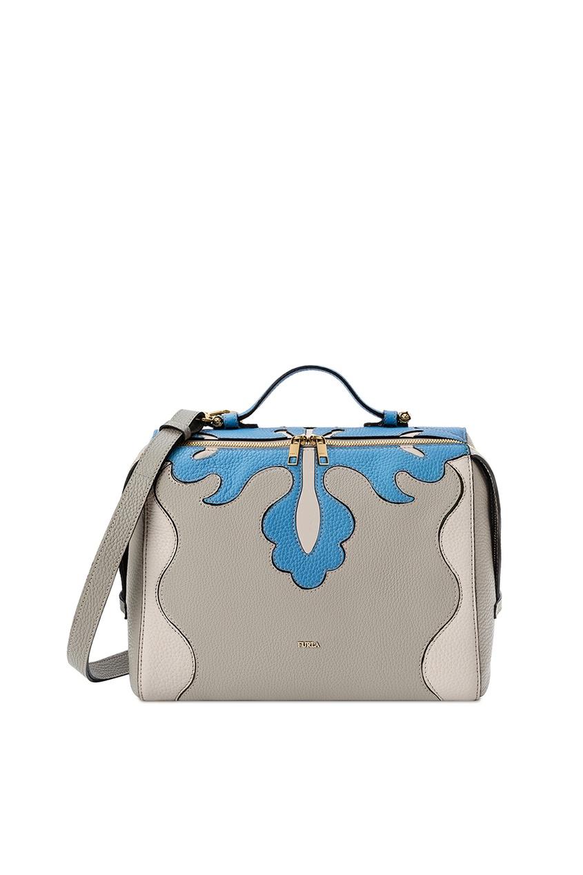 Серая кожаная сумка Excelsa Furla