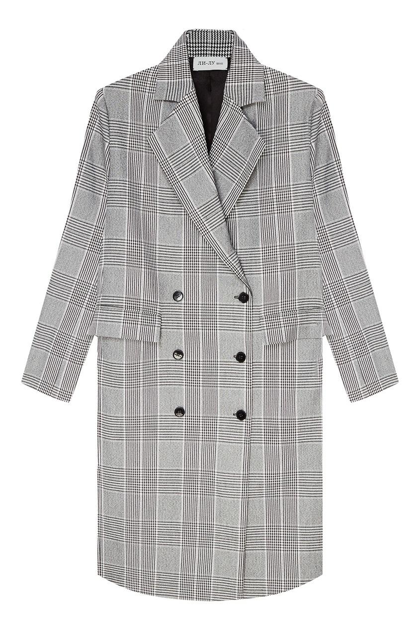 женское пальто ли-лу, серое
