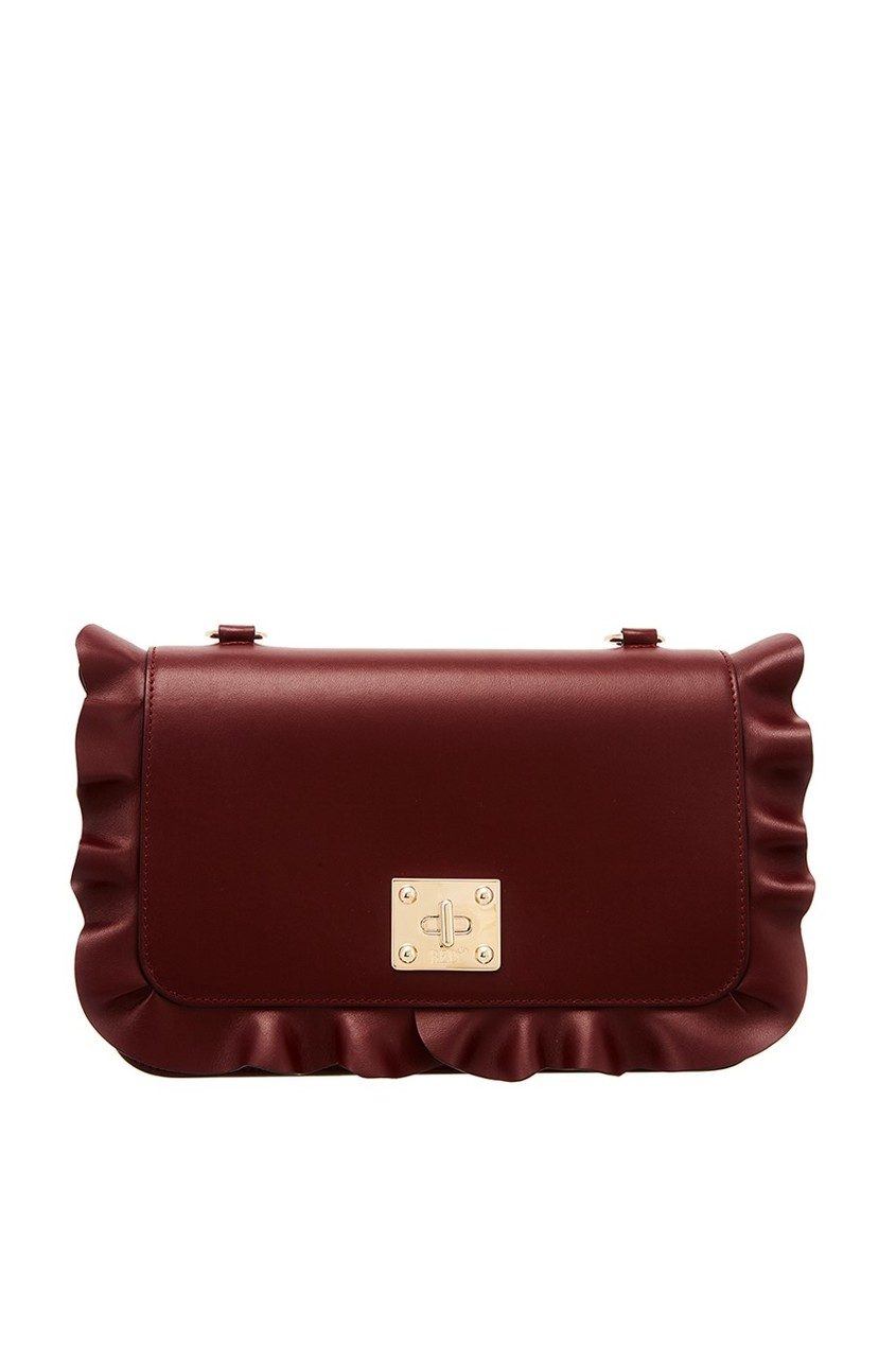 Бордовая сумка с рюшами RED Valentino