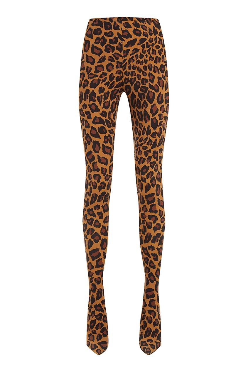 Брюки-сапоги с леопардовым принтом Balenciaga