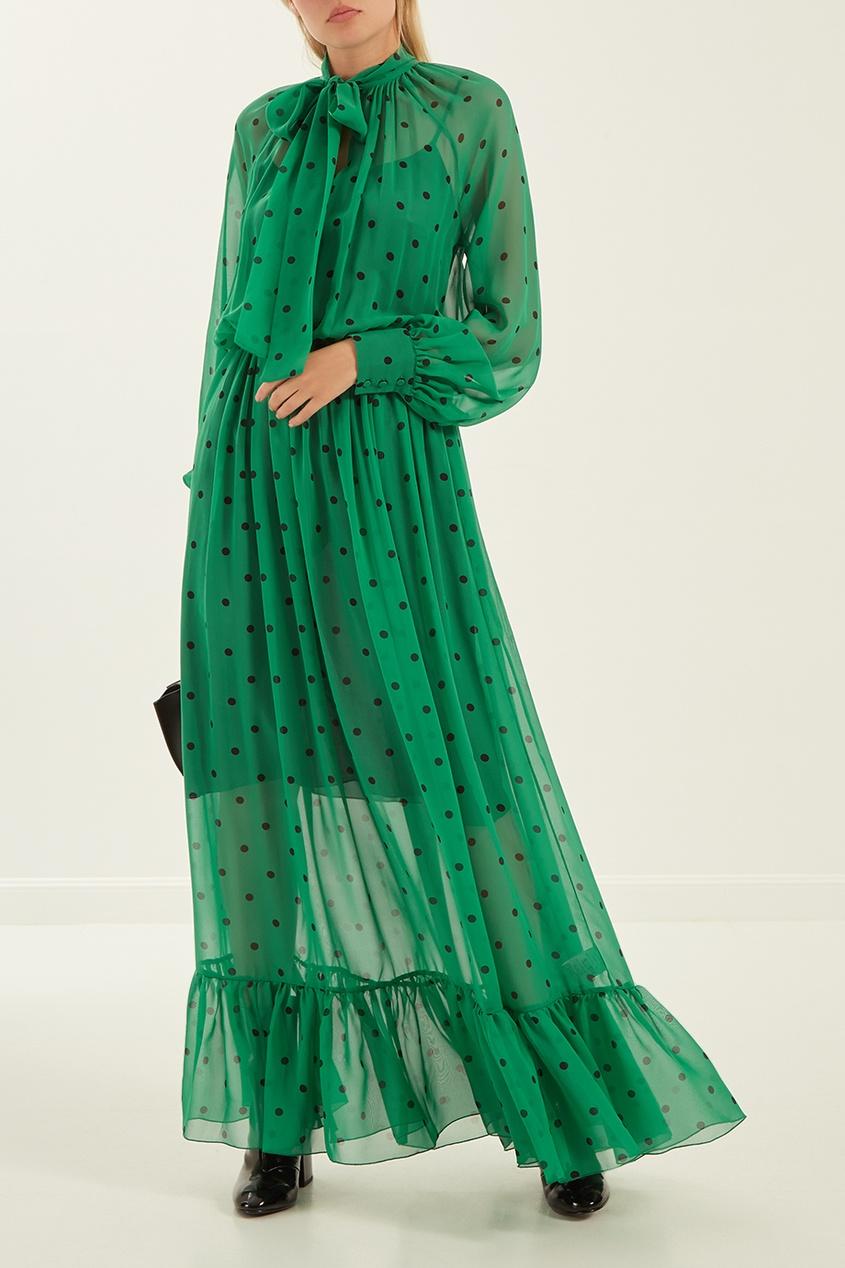 женское платье msgm, зеленое