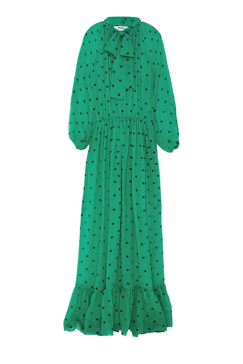 Зеленое шелковое платье в горошек