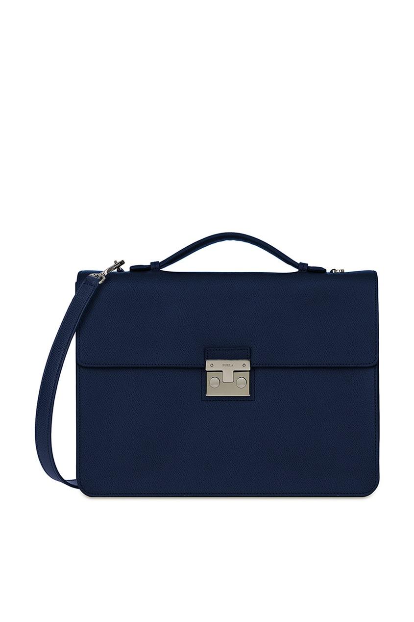 FURLA Портфель из кожи темно-синего цвета цена