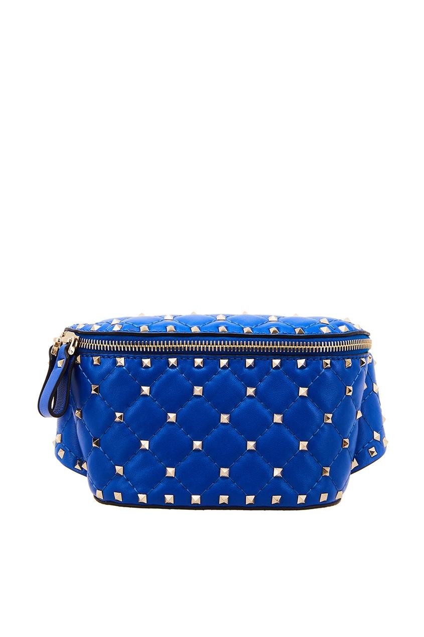 Синяя сумка на пояс Garavani Rockstud Valentino Garavani