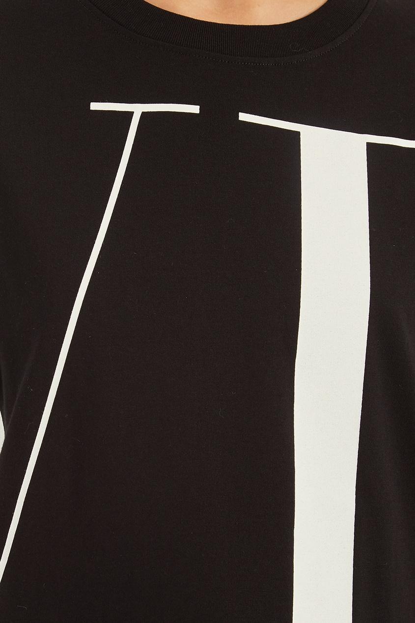 женская футболка valentino, черная