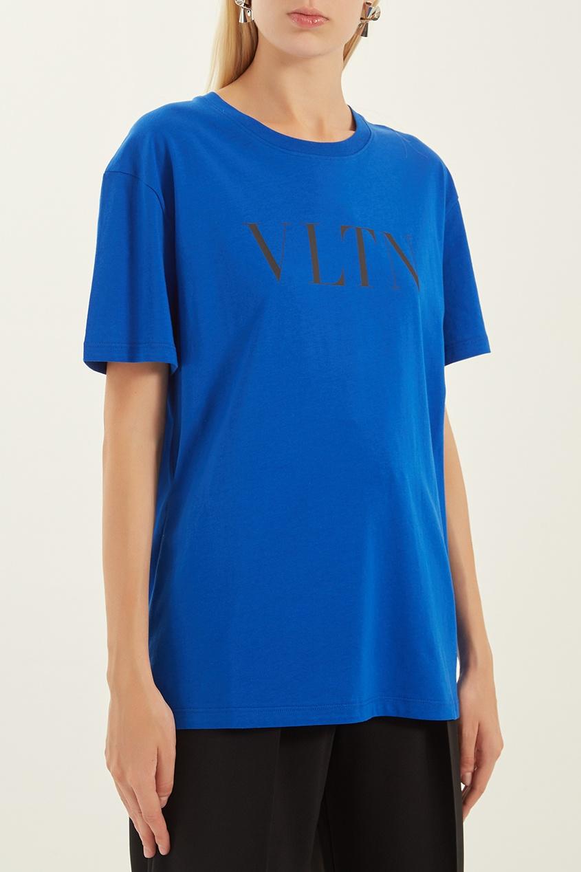 женская футболка valentino, синяя