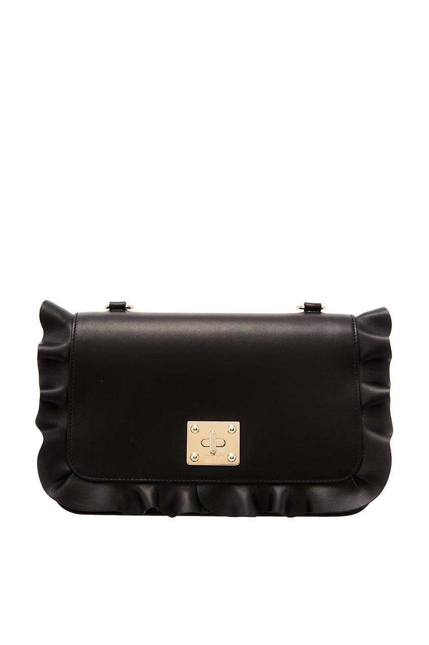 Черная сумка с оборкой RED Valentino