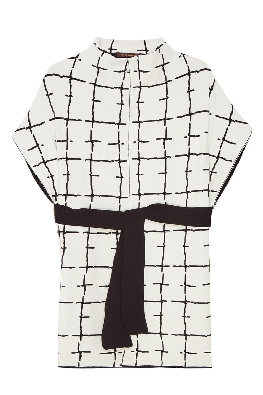 Купить со скидкой Белое пальто с контрастным принтом
