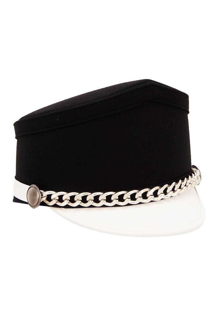 Контрастная шляпа с цепочкой No.21