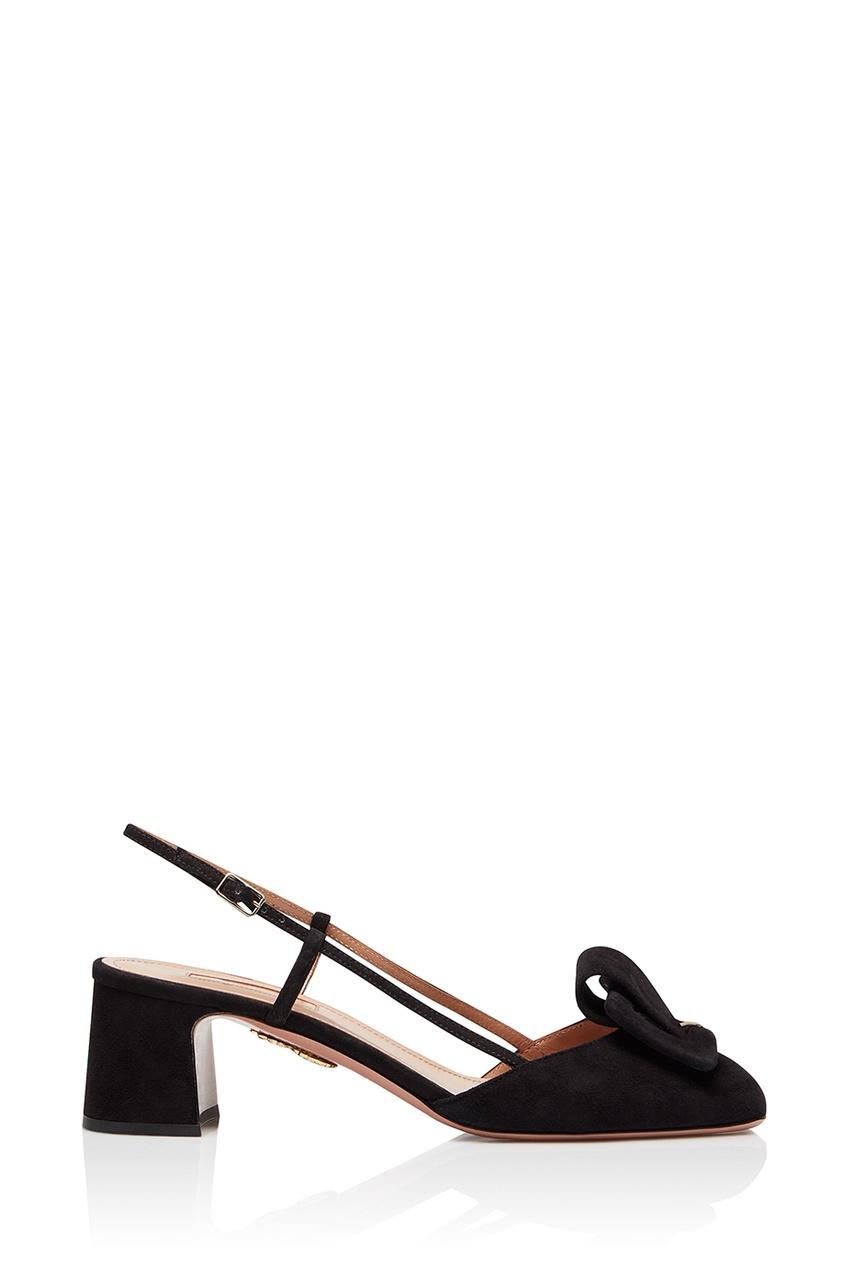 Черные замшевые туфли Strap-me pump 50 Aquazzura