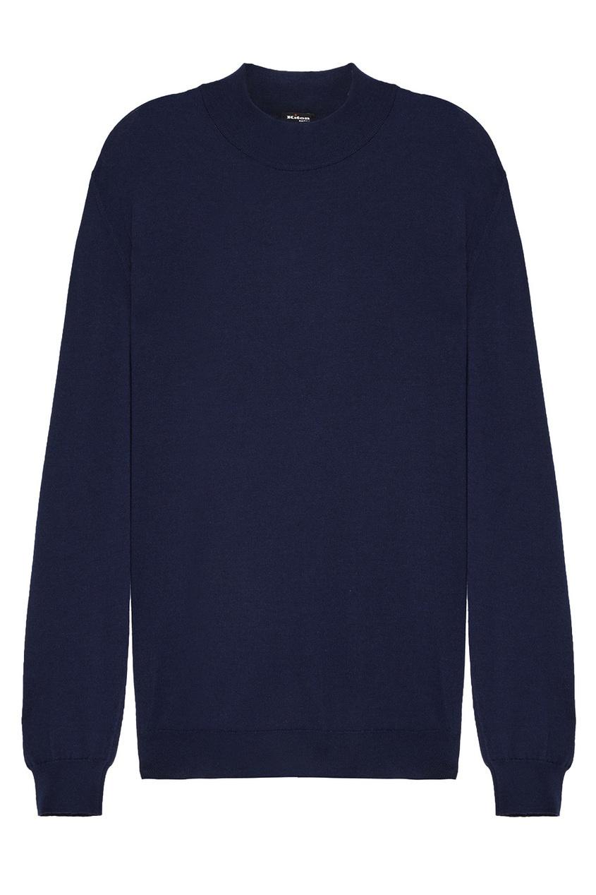 Синий пуловер с кашемиром и шелком