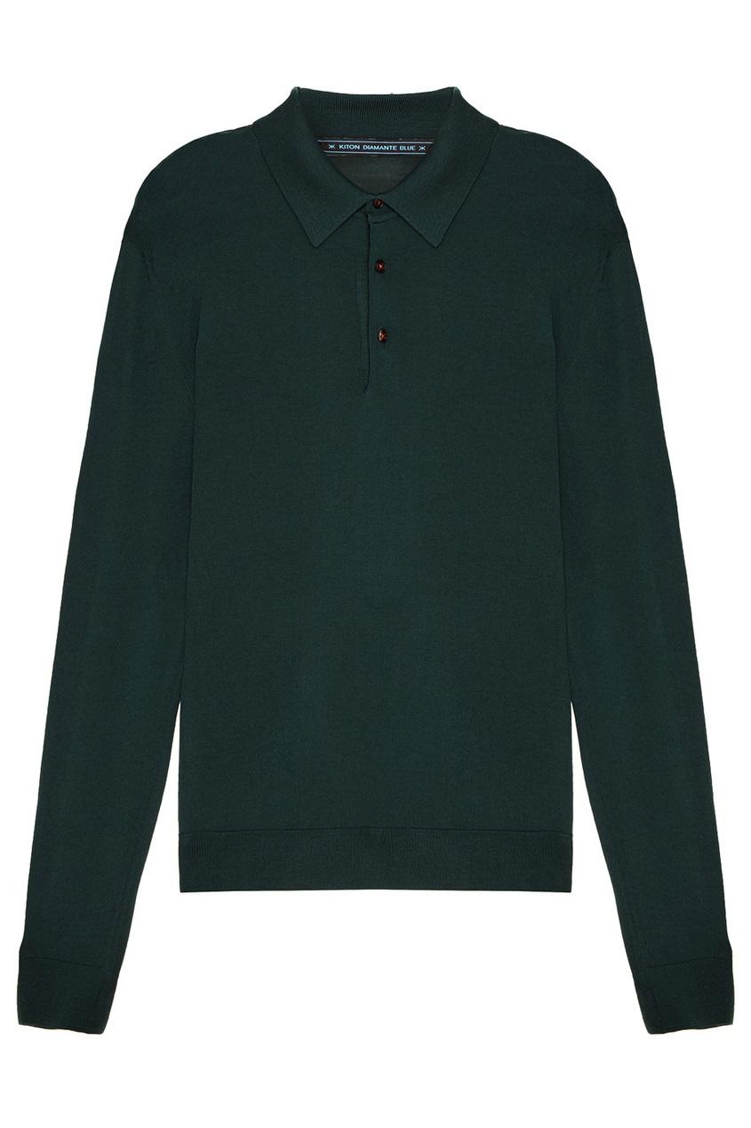 Купить Зеленый джемпер с воротником-поло от KITON зеленого цвета