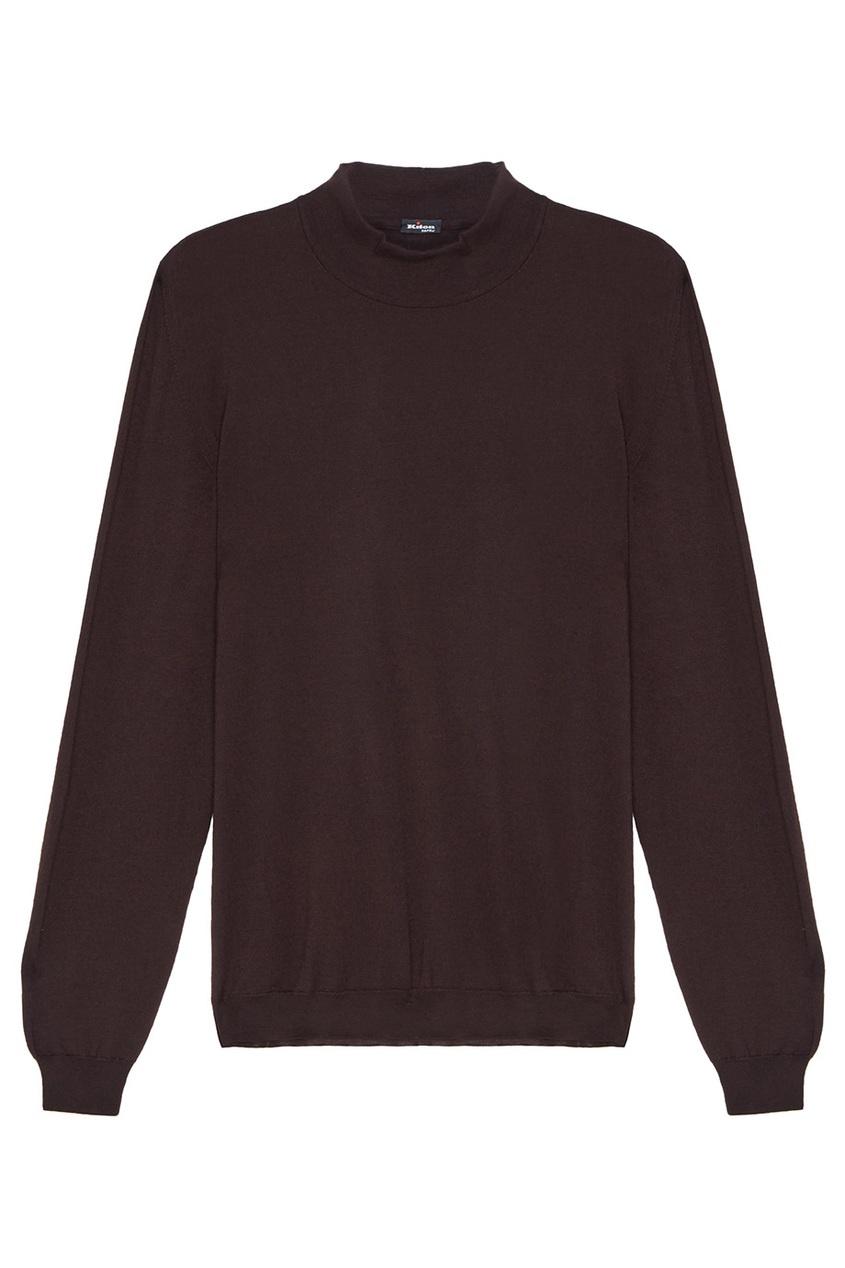 Купить Черный пуловер с кашемиром от KITON коричневого цвета