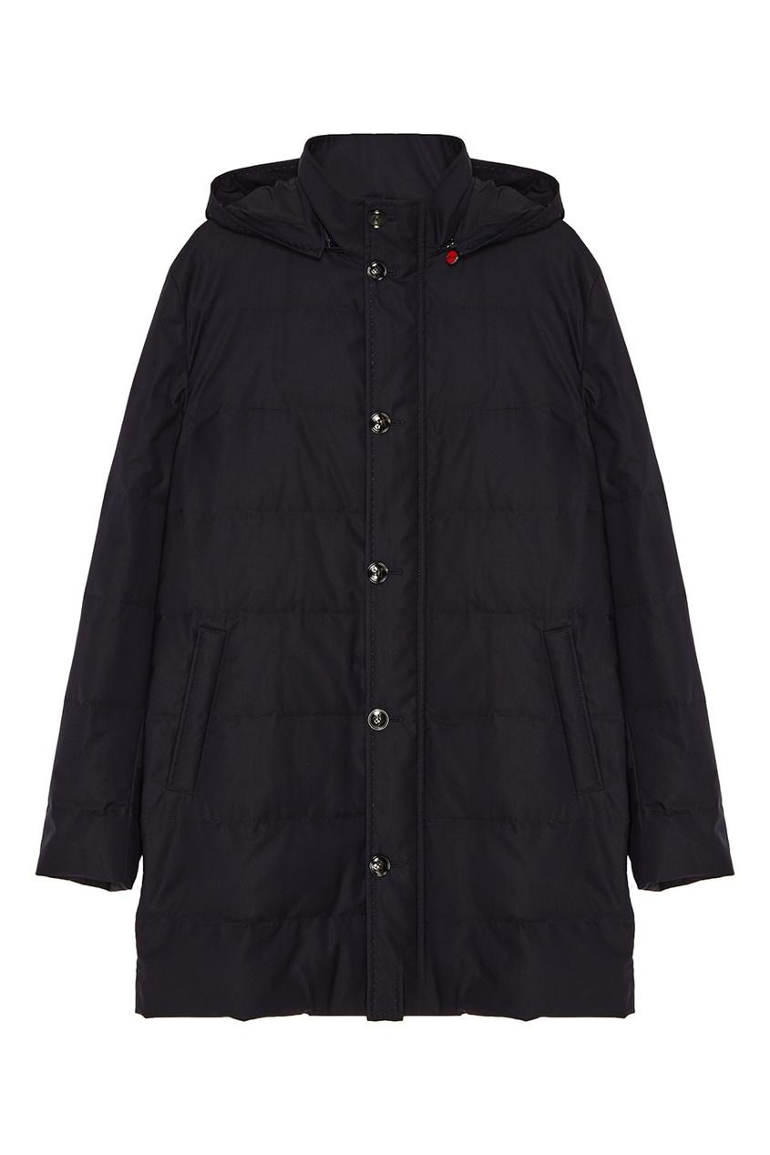 Купить Стеганая куртка с капюшоном от KITON синего цвета