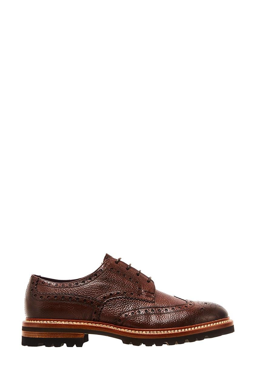 Коричневые туфли с перфорацией Kiton