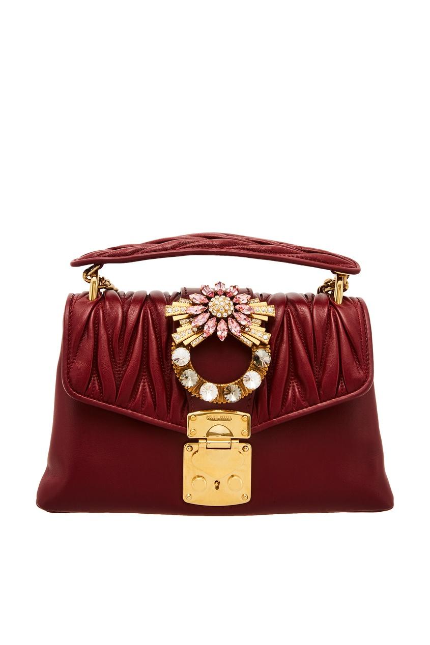 Красная кожаная сумка с кристаллами Miu Miu