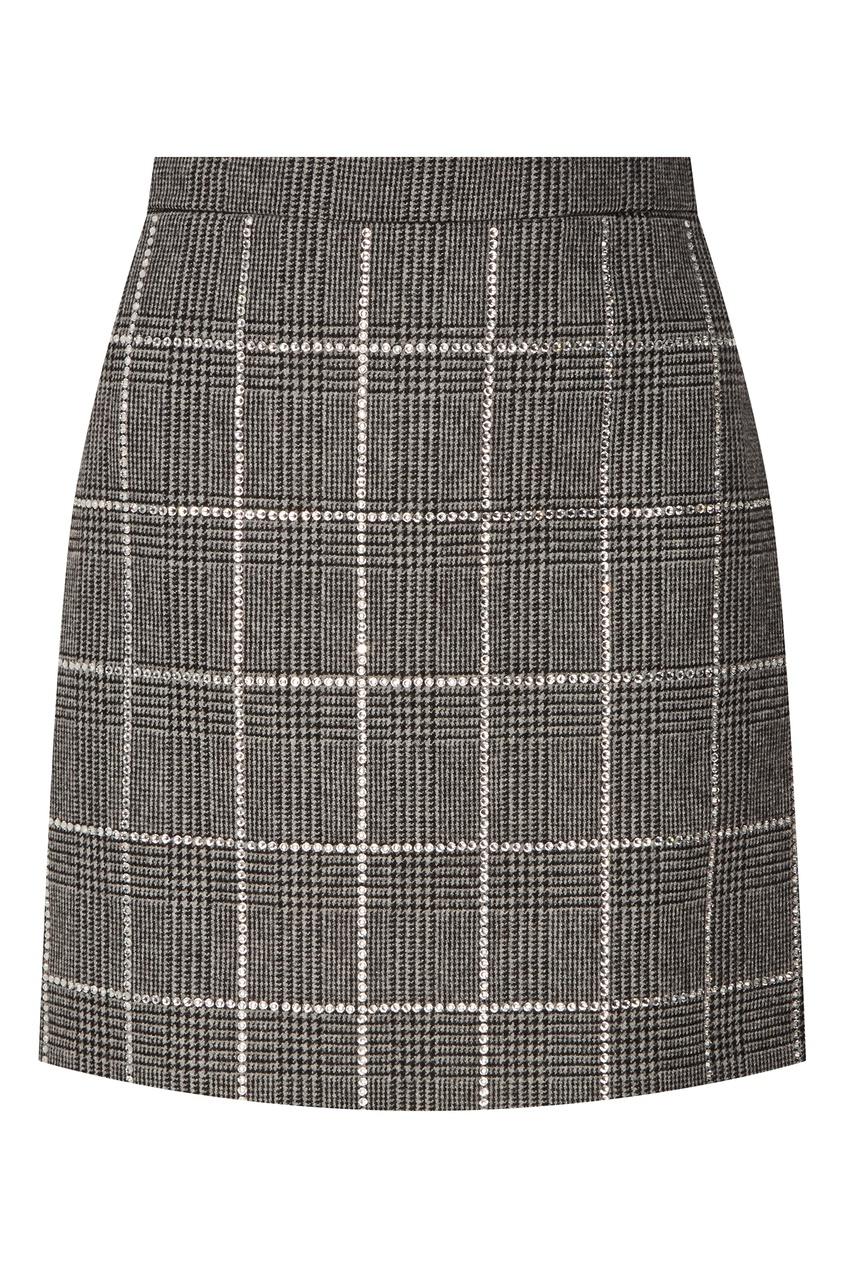Серая мини-юбка со стразами Miu Miu
