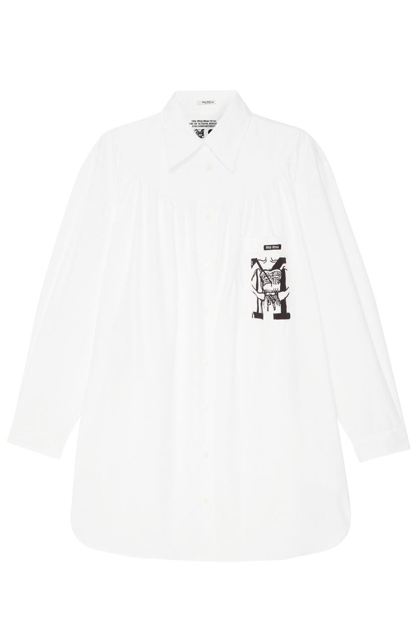 Белое платье-рубашка с принтом от Miu Miu