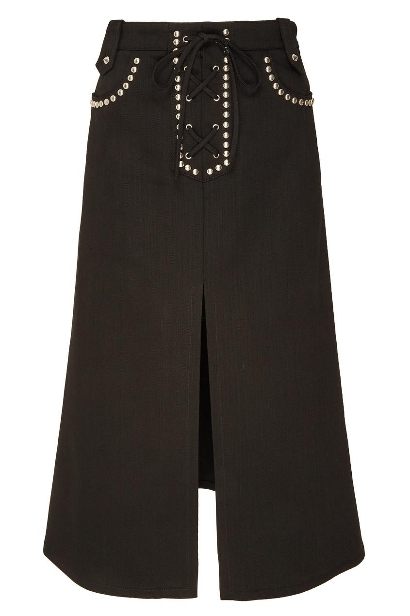 Черная юбка с заклепками Miu Miu